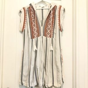 Free People Cotton Embroidered Dress w/ Hood